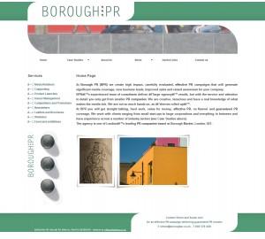 Affordable website design for Borough PR from e-Moonlighting.com
